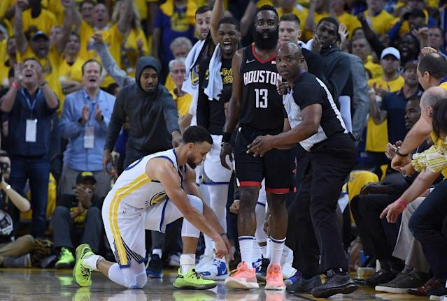"Game 1 of the <a class=""link rapid-noclick-resp"" href=""/nba/teams/golden-state/"" data-ylk=""slk:Warriors"">Warriors</a>-Rockets series was a hotly contested battle between both teams —&nbsp;and the refs. (Getty Images)"