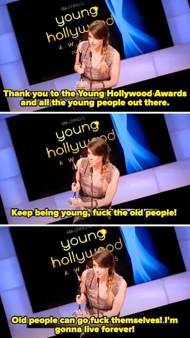 When Aubrey Plaza won Breakthrough Performance of the year and gave the unforgettable, hilarious speech.