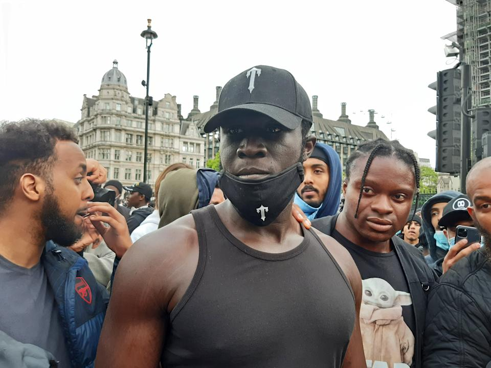 Stormzy at the Black Lives Matter protest rally in Parliament Square, London, in memory of George Floyd who was killed on May 25 while in police custody in the US city of Minneapolis. (Photo by Helen William/PA Images via Getty Images)