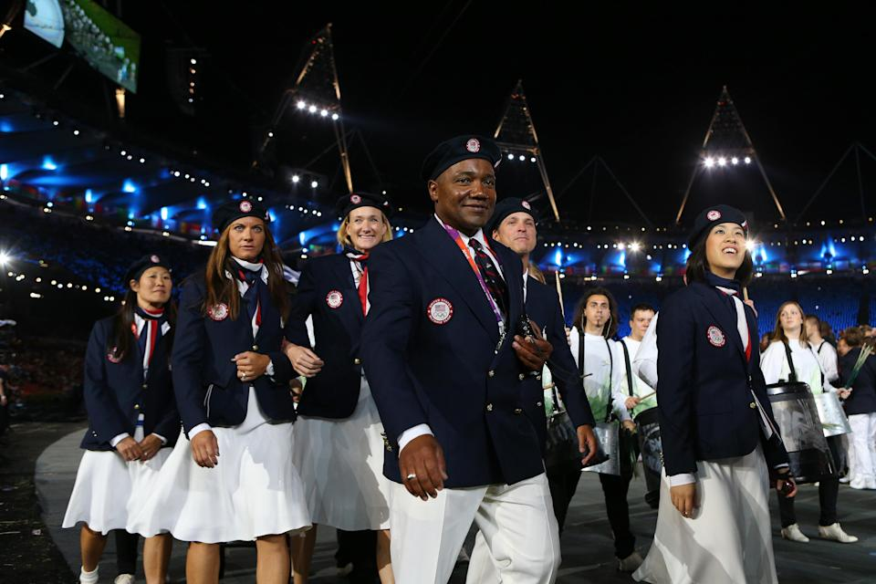 LONDON, ENGLAND - JULY 27: Members of the United States Olympic team enter the stadium during the Opening Ceremony of the London 2012 Olympic Games at the Olympic Stadium on July 27, 2012 in London, England. (Photo by Cameron Spencer/Getty Images)