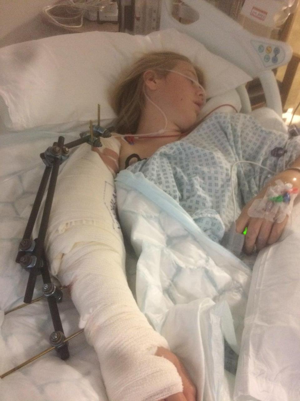 Laura Armstrong after surgery at the Royal London hospital (Irwin Mitchell)