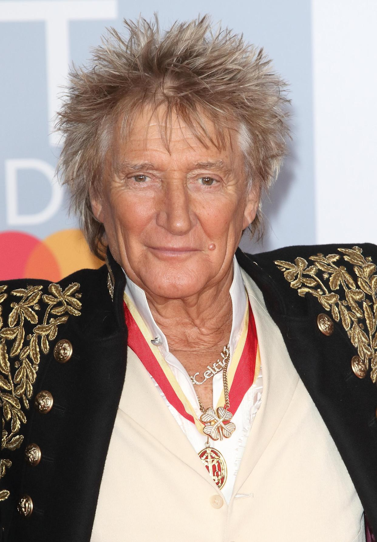 Rod Stewart attends the 40th Brit Awards Red Carpet arrivals at The O2 Arena in London. (Photo by Keith Mayhew / SOPA Images/Sipa USA)