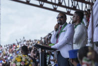 Ethiopia's Prime Minister Abiy Ahmed speaks at a final campaign rally at a stadium in the town of Jimma in the southwestern Oromia Region of Ethiopia Wednesday, June 16, 2021. The country is due to vote in a general election on Monday, June, 21, 2021. (AP Photo/Mulugeta Ayene)