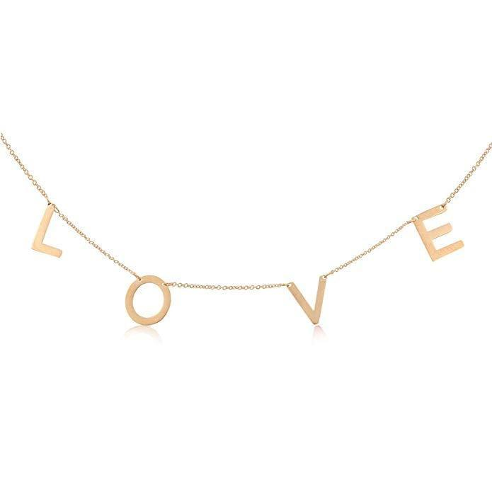 <p>This <span>Joy and Rachel Rose-Gold Love Necklace</span> ($20) is made of high-polished stainless steel.</p>