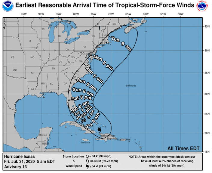 Arrival time of tropical storm-force winds in Florida, released on July 31, 2020.