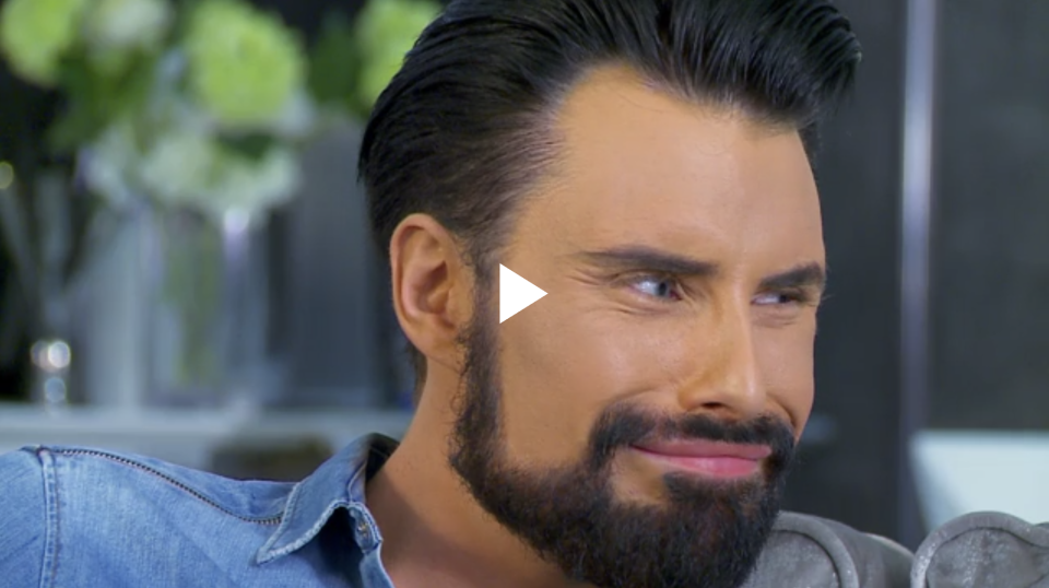 Rylan Clark-Neal pulling a face at his mum on Celebrity Gogglebox