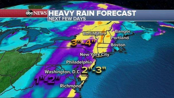 PHOTO: Some areas in the Northeast could get more than 3 inches of rain and if this rain comes down too fast, some minor flooding will be possible in the urban areas. (ABC News)