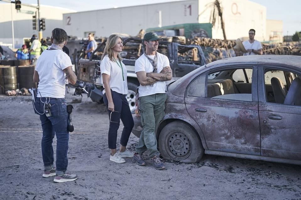 Snyder and his wife Deborah on the set of 'Army of the Dead'.  —  Picture courtesy of Netflix