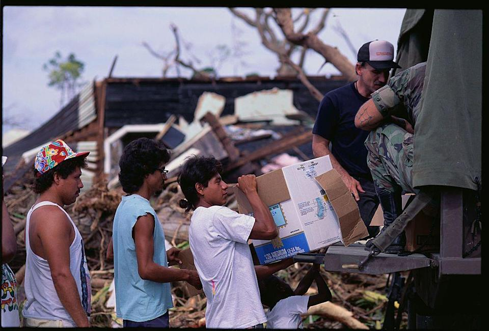 <p>A Category 5 hurricane struck the Bahamas, Florida and Louisiana in August of 1992. Costing more than 26 billion dollars worth of damage, the hurricane left 65 people dead. </p>