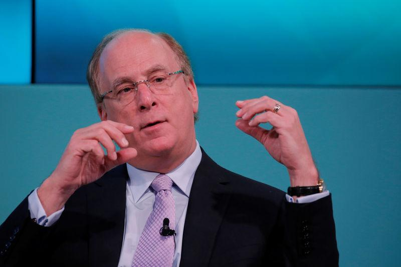 FILE PHOTO: Larry Fink, Chief Executive Officer of BlackRock, takes part in the Yahoo Finance All Markets Summit in New York