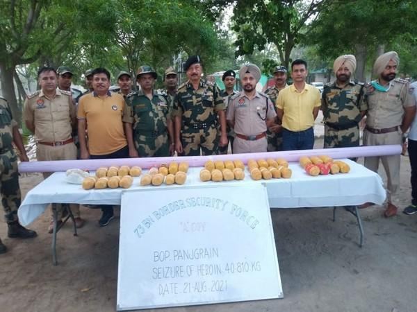 Police have seized 40.81 kilograms of heroin from the India-Pakistan border (Photo/ANI)