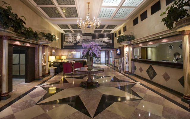 A view of the lobby at the Parque Balneario Hotel where Mexico's 2014 World Cup team will stay during the World Cup, in Santos, Brazil, Wednesday, Feb. 12, 2014. (AP Photo/Andre Penner)