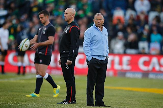 Backs to the wall: England coach Eddie Jones feels the pressure on Saturday (AFP Photo/MARCO LONGARI)