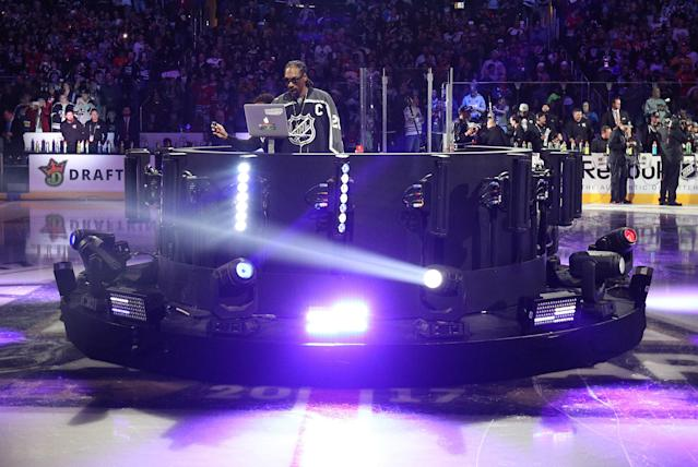 Snoop Dogg's relationship with the NHL has been a peculiar one. (Dave Sandford/NHLI via Getty Images)
