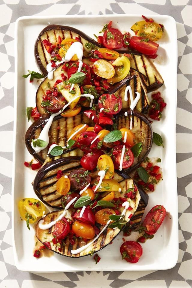 "<p>A perfect entree for vegetarians—or a savory side for everyone else—this dish gives the elegant eggplant a starring role at your barbecue. </p><p><em><a href=""https://www.prevention.com/food-nutrition/recipes/a22666681/spiced-grilled-eggplant-recipe/"" target=""_blank"">Get the recipe for  Grilled Eggplant with Fresh Tomato Salad »</a></em></p>"