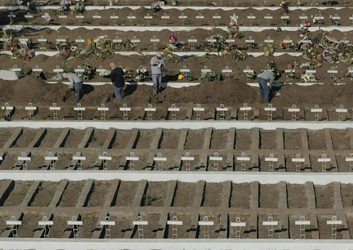 Aerial view of graves dug at the General Cemetery in the Chilean capital Santiago, which is on full lockdown after a massive spike in the infection rate (AFP Photo/MARTIN BERNETTI)