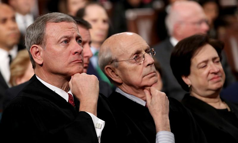 Supreme Court Chief Justice John Roberts, left, Associate Justice Stephen Breyer and Associate Justice Elena Kagan listens as President Donald Trump delivers his first State of the Union address on Jan. 30, 2018. (Photo: Win McNamee/pool via Associated Press)