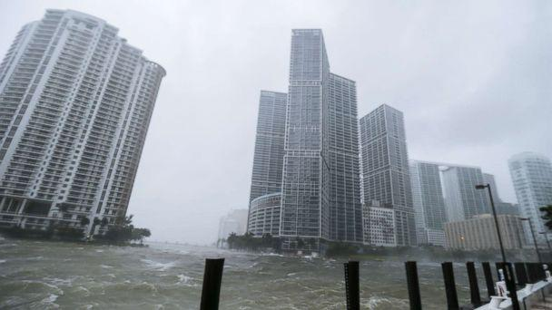 PHOTO: The rough waters where the Miami River meets Biscayne Bay shows the full effects of Hurricane Irma strike in Miami, Florida, Sept. 10, 2017. (Erik S. Lesser/EPA)