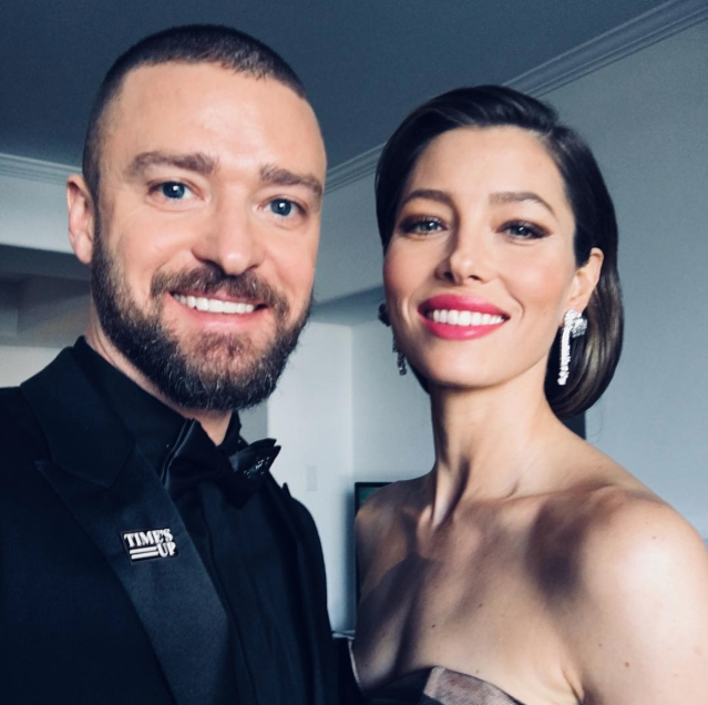 "<p><span>Timberlake, wearing a Time's Up pin, posed with his wife, Jessica Biel. ""Here we come!! And DAMN, my wife is hot! </span><span>#TIMESUP #whywewearblack"" </span>(Photo: <a href=""https://www.instagram.com/p/BdqlTgtBbYJ/?hl=en&taken-by=justintimberlake"" rel=""nofollow noopener"" target=""_blank"" data-ylk=""slk:Justin Timberlake via Instagram"" class=""link rapid-noclick-resp"">Justin Timberlake via Instagram</a>) </p>"