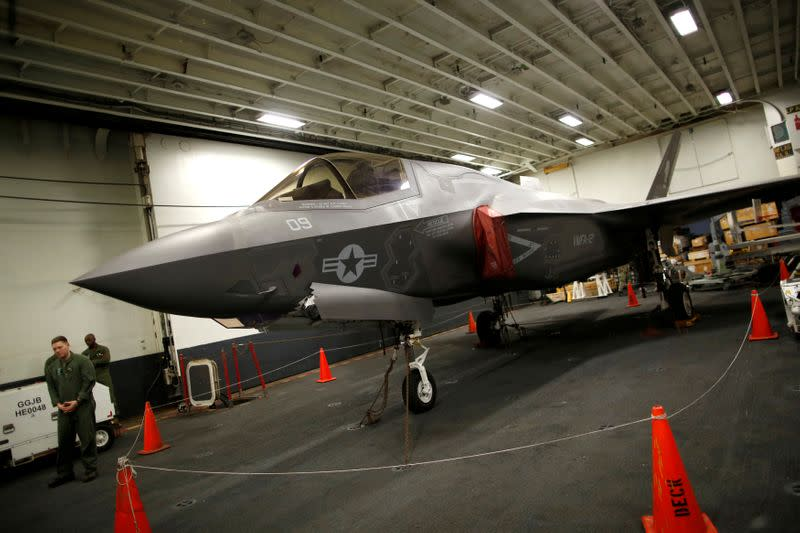 FILE PHOTO: A Lockheed Martin F-35B stealth fighter is seen inside the USS Wasp (LHD 1) amphibious assault carrier during their operation in the waters off Japan's southernmost island of Okinawa