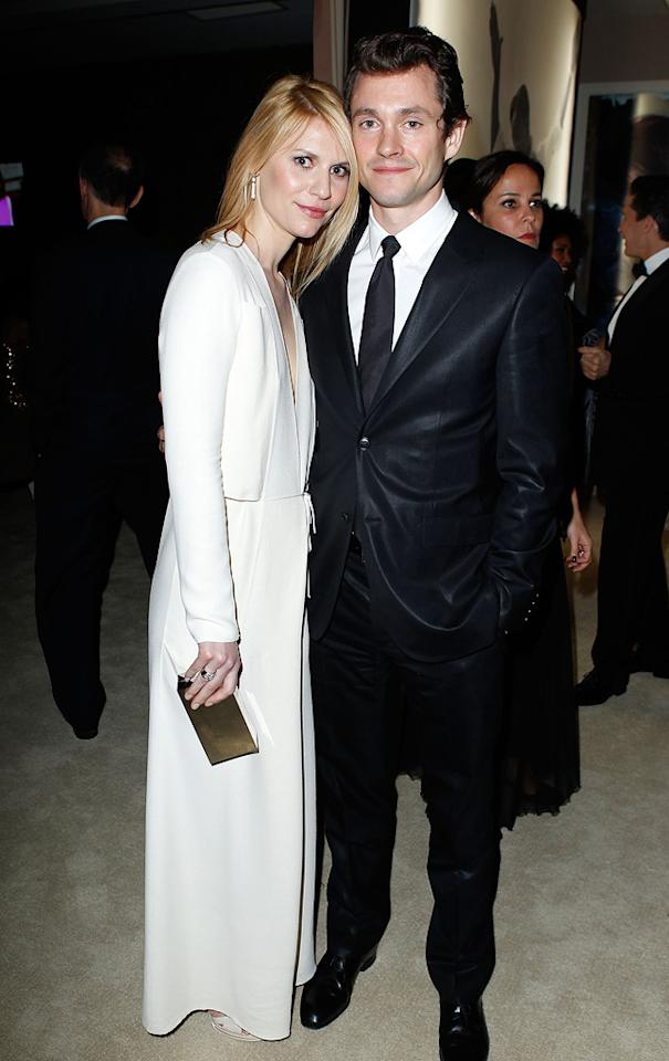 Claire Danes (in Calvin Klein) and hubby Hugh Dancy looked a little tired because they attended the Vanity Fair fete and the Elton John event.