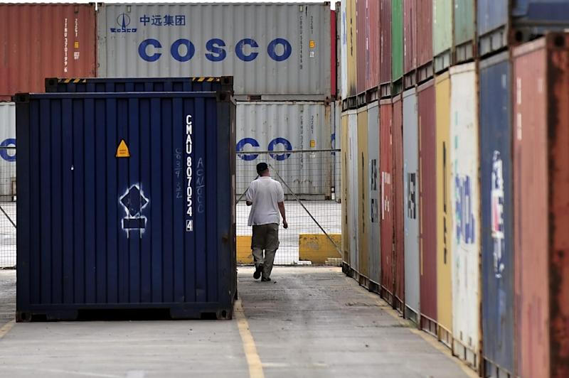 China's COSCO firm, through its Piraeus Container Terminal (PCT) arm, manages the two main container terminals at the Greek port of Piraeus -- one of Europe's busiest -- under a 35-year concession signed in 2008 (AFP Photo/Aris Messinis)