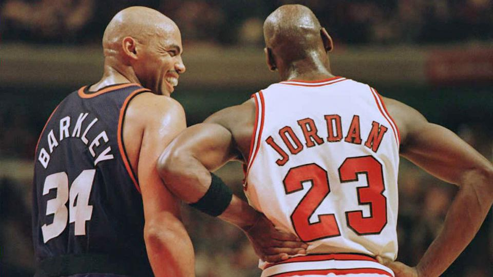 Pictured here, NBA Hall of Famers Charles Barkley and Michael Jordan in their playing days.