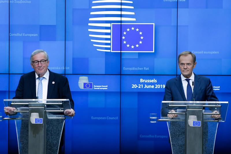 President of the European Commission Jean-Claude Juncker and the President of the European Council Donald Tusk give a press conference after the first day of the European Summit where the future of the Presidency of the Commission and the Council were discussed in Brussels, on June 21, 2019. (Photo by Aris Oikonomou / AFP) (Photo credit should read ARIS OIKONOMOU/AFP/Getty Images)