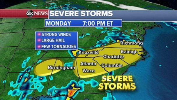 PHOTO: Severe weather is pushing farther east tonight. (ABC News)