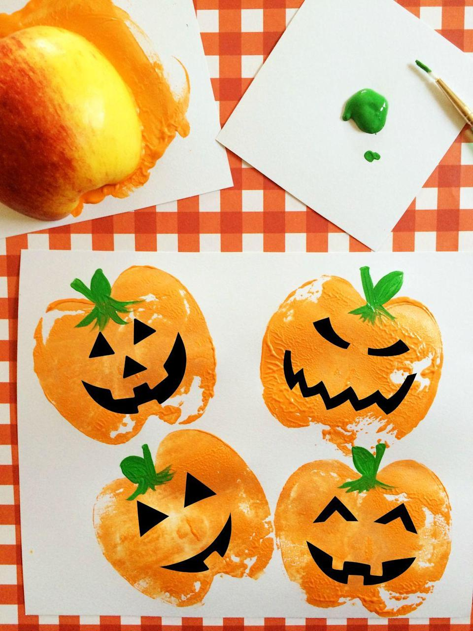 """<p>What are you going to do with all those apples from apple picking? Eat some, back some into a pie, and make sure there's at least one left over to turn into a stamper so you can make fun Jack o' Lantern faces.</p><p><em><a href=""""https://www.frugalmomeh.com/2015/09/pumpkin-apple-stamps.html"""" rel=""""nofollow noopener"""" target=""""_blank"""" data-ylk=""""slk:Get the tutorial at Frugal Momeh »"""" class=""""link rapid-noclick-resp"""">Get the tutorial at Frugal Momeh »</a></em></p>"""