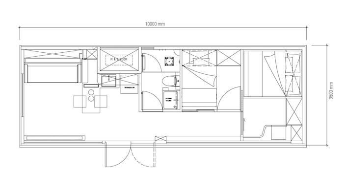 floor plan of the two-bedroom Cube Two X