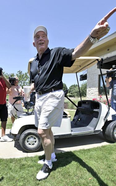 Dallas Cowboys NFL football owner Jerry Jones arrives for the Dallas Cowboys Annual Sponsor Appreciation Golf Classic at the Cowboys Golf Club, Wednesday, May 9, 2012, in Grapevine, Texas. (AP Photo/LM Otero)