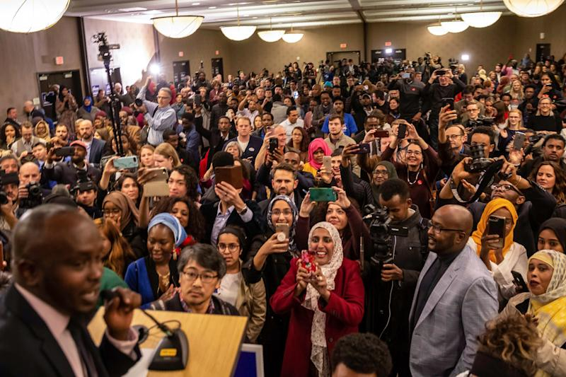 Supporters wait eagerly for the arrival of Ilhan Omar, newly elected to the U.S. House of Representatives,during her election night victory party. (KEREM YUCEL via Getty Images)