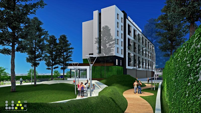 Rendering of La Terra Burbank, a $375-million apartment and hotel complex approved for construction in Burbank.