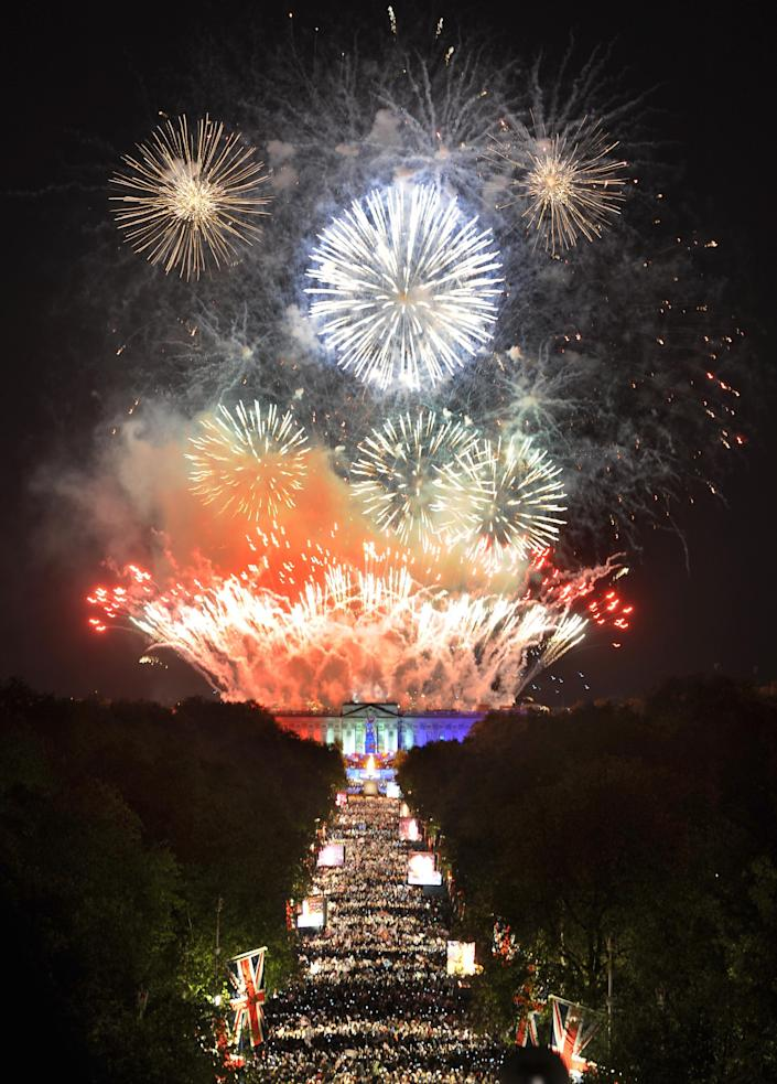 Fireworks over Buckingham Palace mark the end of The Diamond Jubilee Concert from The Mall on June 4, 2012 in London, England. For only the second time in its history the UK celebrates the Diamond Jubilee of a monarch. Her Majesty Queen Elizabeth II celebrates the 60th anniversary of her ascension to the throne. Thousands of well-wishers from around the world have flocked to London to witness the spectacle of the weekend's celebrations. (Photo by Anthony Devlin - Pool/Getty Images)