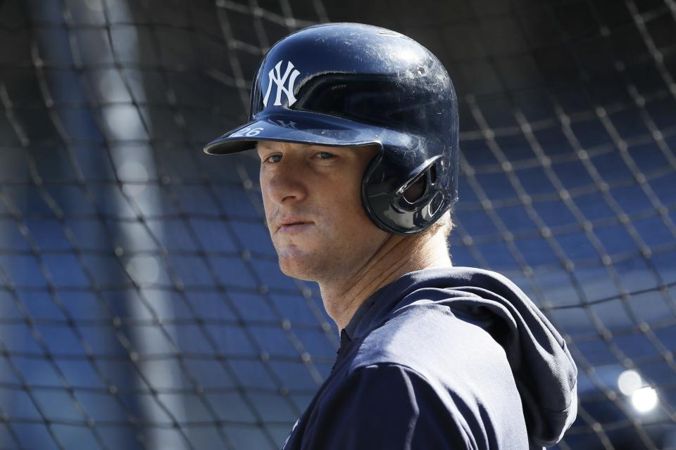 New York Yankees first baseman DJ LeMahieu prepares to take batting practice before Game 3 of baseball's American League Championship Series against the Houston Astros, Tuesday, Oct. 15, 2019, in New York. (AP Photo/Matt Slocum)