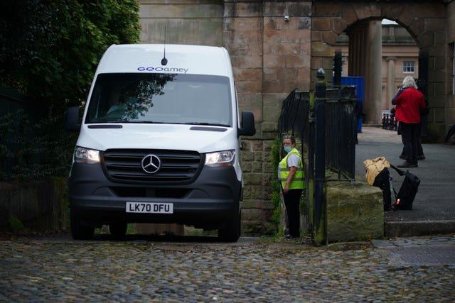 A prison van believed to be transporting Manchester City footballer Benjamin Mendy arrives at Chester Crown Court