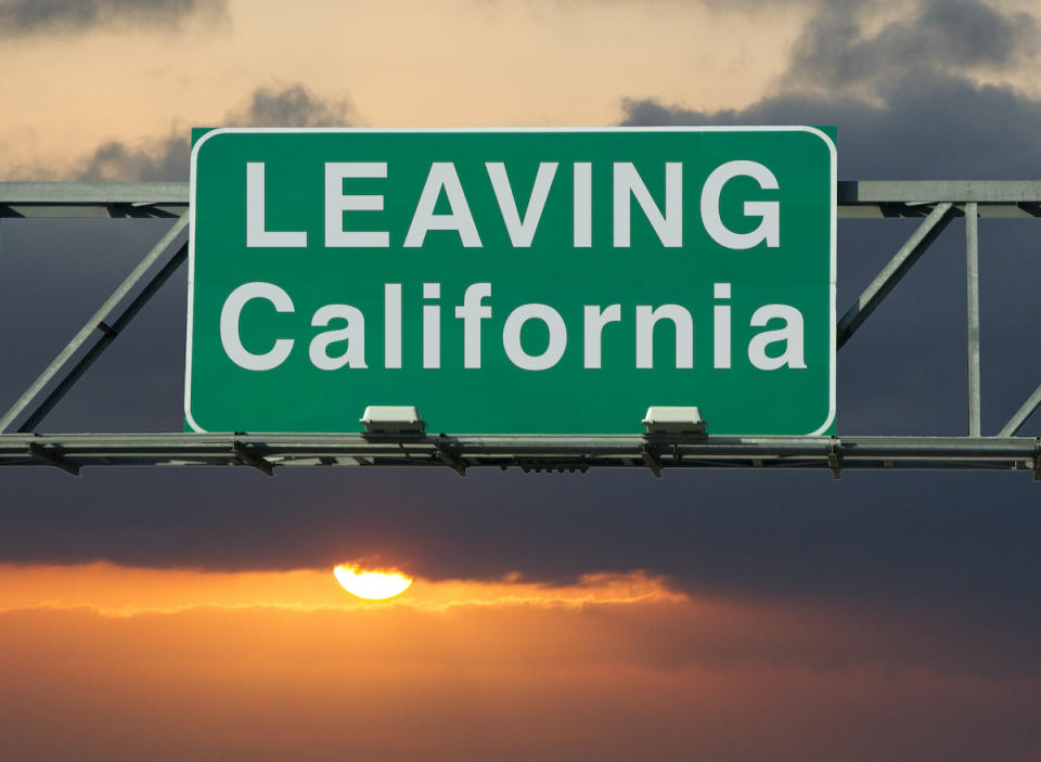 "A road sign that says ""Leaving California."""