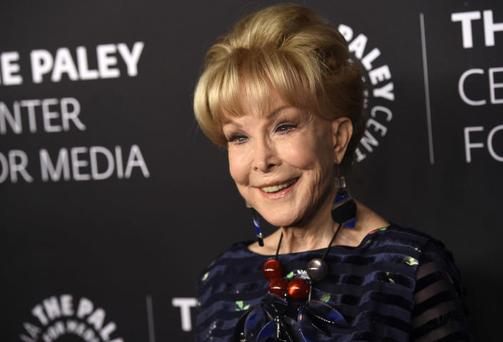 """FILE - Barbara Eden poses at """"The Paley Honors: A Special Tribute to Television's Comedy Legends"""" on Nov. 21, 2019, in Beverly Hills, Calif. Eden turns 89 on Aug. 23. (Photo by Chris Pizzello/Invision/AP, File)"""