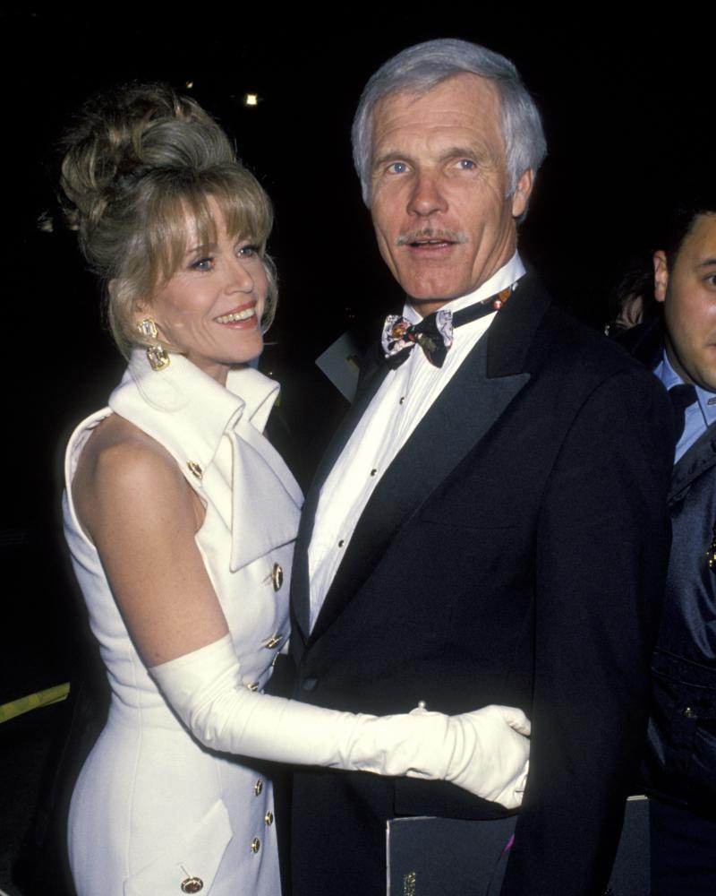 With her third husband, Ted Turner, at the Oscars, 1993.