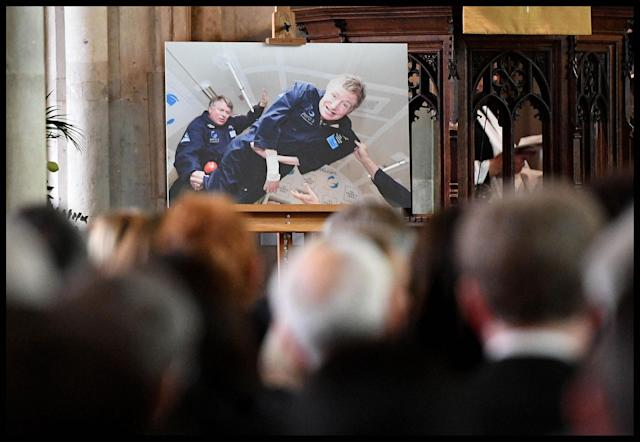 <p>A photo of Professor Stephen Hawking is displayed during his funeral service at the University Church of St Mary the Great in the center of Cambridge, England on March 31, 2018. (Photo: Andrew Parsons/i-Images via ZUMA Press) </p>