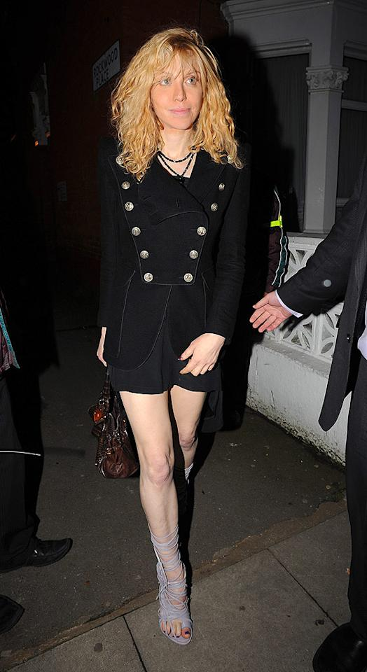 """From the waist up, Courtney Love looks better than ever. From the waist down, not so much. Gotcha Images/<a href=""""http://www.splashnewsonline.com"""" target=""""new"""">Splash News</a> - February 19, 2009"""