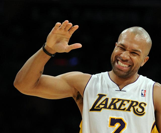 LOS ANGELES, CA - NOVEMBER 07: Derek Fisher #2 of the Los Angeles Lakers reacts after being fouled against the Portland Trail Blazers during the first half at the Staples Center on November 7, 2010 in Los Angeles, California. NOTE TO USER: User expressly acknowledges and agrees that, by downloading and/or using this photograph, User is consenting to the terms and conditions of the Getty Images License Agreement. (Photo by Harry How/Getty Images)