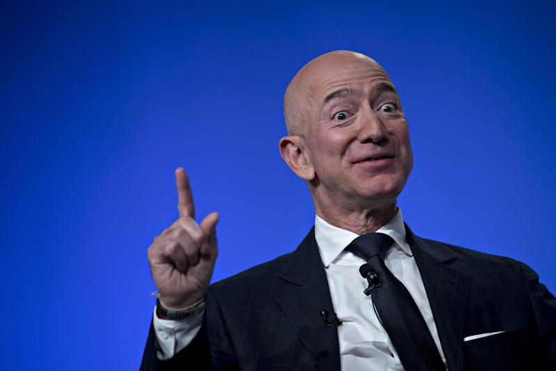 Jeff Bezos, founder and chief executive officer of Amazon.com Inc., speaks during a discussion at the Air Force Association's Air, Space and Cyber Conference in National Harbor, Maryland, U.S., on Wednesday, Sept. 19, 2018. Amazon is considering a plan to open as many as 3,000 new AmazonGo cashierless stores in the next few years, according to people familiar with matter, an aggressive and costly expansion that would threaten convenience chains. Photographer: Andrew Harrer/Bloomberg via Getty Images