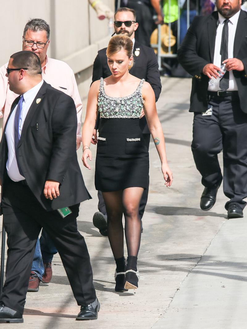 "Scarlett Johansson arriving at ""Jimmy Kimmel Live"" on April 8. (Photo: Getty Images)"