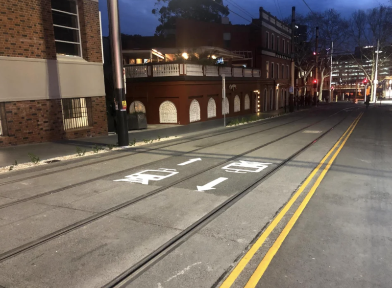 Pictured is the markings in the wrong place on Devonshire Street, Surry Hills.