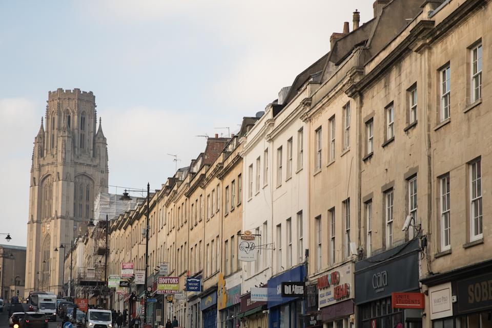 BRISTOL, ENGLAND - JANUARY 26:  A general view of Park Street is seen on January 26, 2017 in Bristol, England. The Bristol Pound is money that can only be used in local, independent businesses which aims to keep money in the city. Figures released for 2016 show that Bristol had the UK's fastest-growing economy outside of London and its house prices are the fastest-growing in the country. According to the Hometrack UK Cities House Price Index, property rose by 9.6 per cent in Bristol in 2016.  (Photo by Matt Cardy/Getty Images)