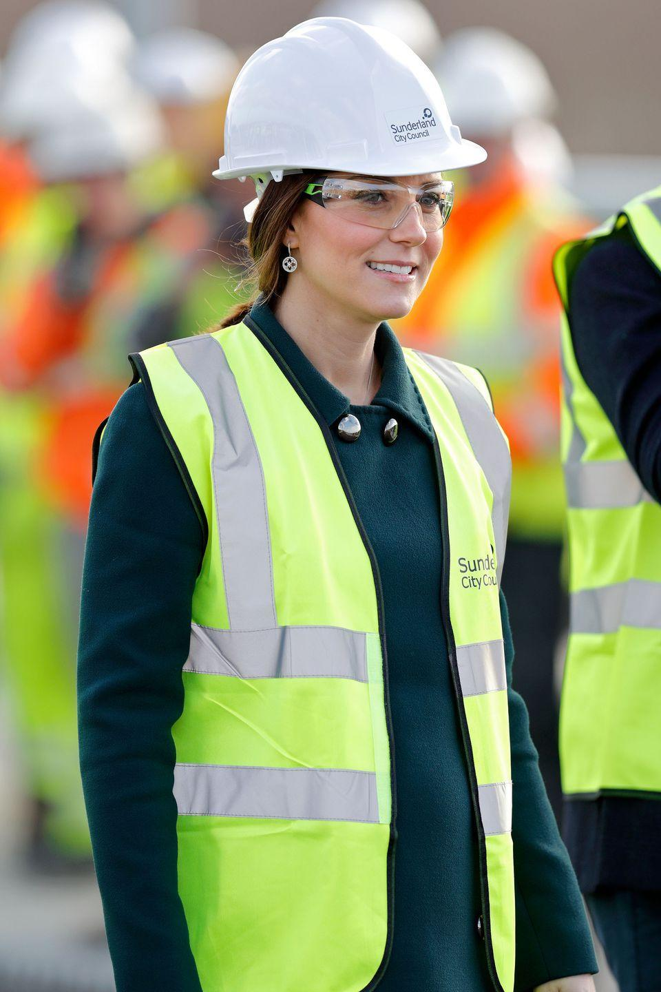 <p>The Duchess suits up in construction gear to visit the Northern Spire, a new bridge in Sunderland, England.</p>
