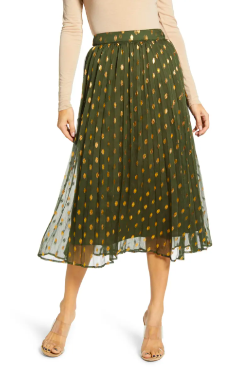 Endless Rose polka dot pleated skirt. Image via nordstrom.com.