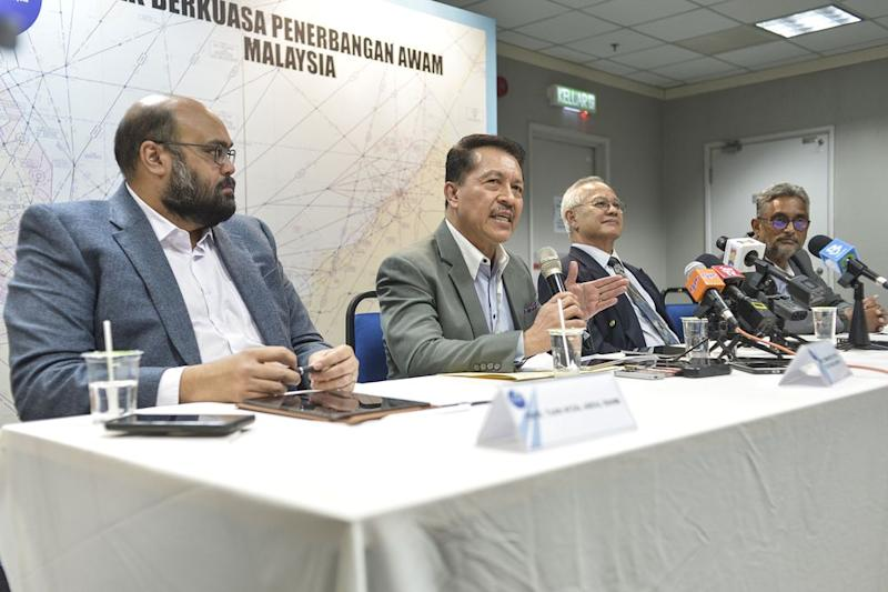 The Civil Aviation Authority of Malaysia (CAAM) holding a press conference in its office in Putrajaya, November 12, 2019. — Picture by Shafwan Zaidon